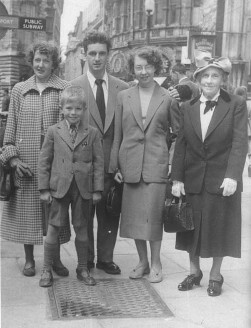 Mum, me, my cousin Geoff, his first wife Pauline and Granny in London